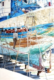 Brian Fleming, Repair work, blue boat, Essaouira, Morocco
