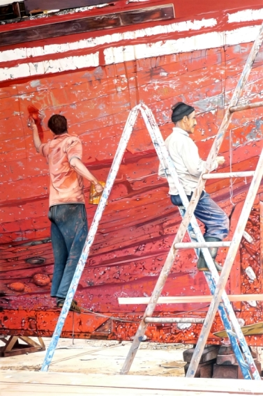 Brian Fleming, Repair work, red boat, Essaouira, Morocco
