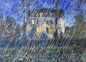 Peter J E Matthews, Rain. Salisbury Cathedral Close