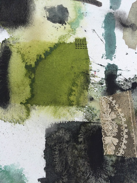 Mandy Bonnell experimented with using watercolour on distressed paper.