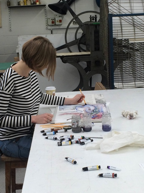 Bath School of Art and Design student Martha Kesley in action