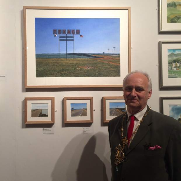 RI President Andy Wood with his exhibited works