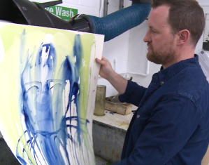 Artist Steve Burden applies a heavy wash to St Cuthberts Mill Saunders Waterford paper.