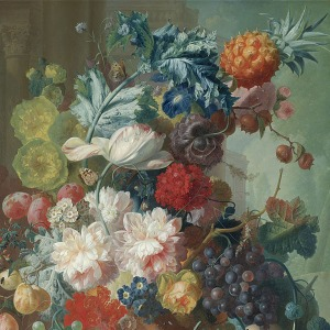 Jan van Os, Fruit and Flowers in a Terracotta Vase, (detail) 1777-8 © The National Gallery, London