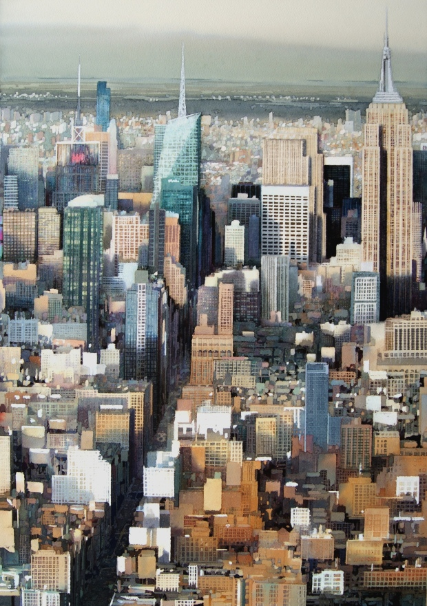 'Gridlock (Manhattan)', Janet Kenyon, Sunday Times Watercolour Competition 2016 Prizewinner