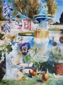 Julian Bray, 'The chickens eplored their domain, Welbeck Abbey terrace', £2,400