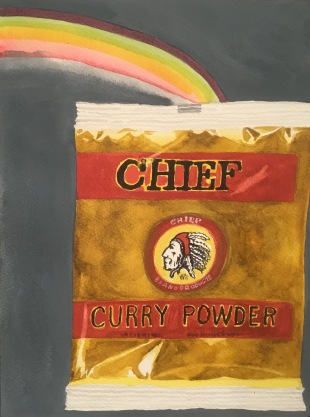 Gertie Young RWS, 'Curry powder with dark rainbow', £375